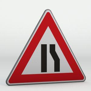 Dopravní značka A6b | Zúžená vozovka z jedné strany