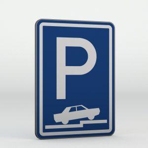 Dopravní značka IP11f | Parkoviště částečné stání na chodníku kolmé nebo šikmé