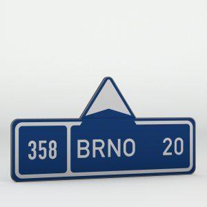Dopravní značka IS3a | Směrová tabule s cílem